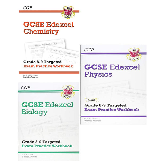 Cgp gcse 9-1 chemistry, biology, physics 3 books collection set- edexcel grade 8-9 targeted exam practice workbook - The Book Bundle