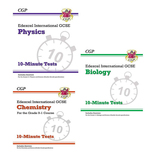 Cgp edexcel international gcse grade 9-1 physics, biology, chemistry 3 books collection set - 10-minute test - The Book Bundle