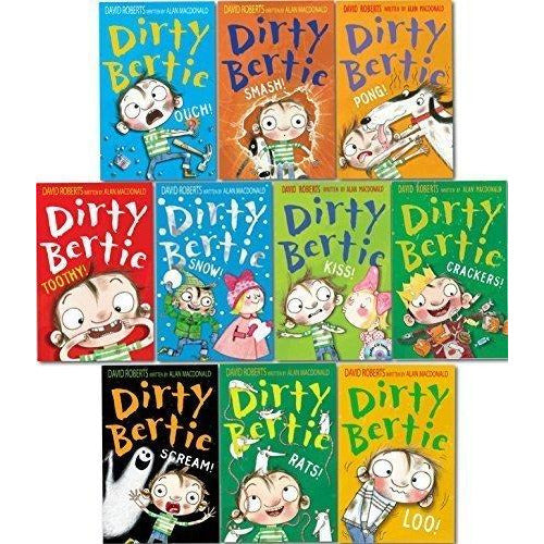 Dirty Bertie - Series 2 - David Roberts 10 Books Collection Set (Rats, Smash, Kiss, Pong, Scream, Loo, Ouch, Crackers, Snow, Toothy) - The Book Bundle