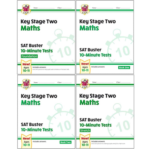 CGP New KS2 Maths SAT Buster 10-Minute Tests Foundation, Maths Book 1 & 2 Stretch 4 Books Collection Set - The Book Bundle