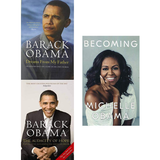 Becoming michelle obama [hardcover], dreams from my father, audacity of hope 3 books collection set - The Book Bundle