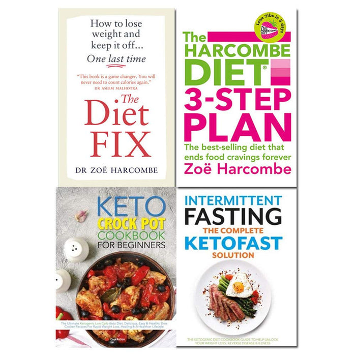 Diet fix, harcombe diet, keto crock pot cookbook, intermittent fasting the complete ketofast solution 4 books collection set - The Book Bundle