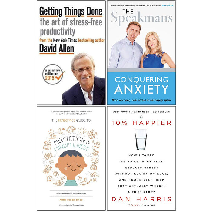 Getting Things Done, Conquering Anxiety, Headspace Guide to Meditation and Mindfulness, 10% Happier 4 Books Collection Set - The Book Bundle