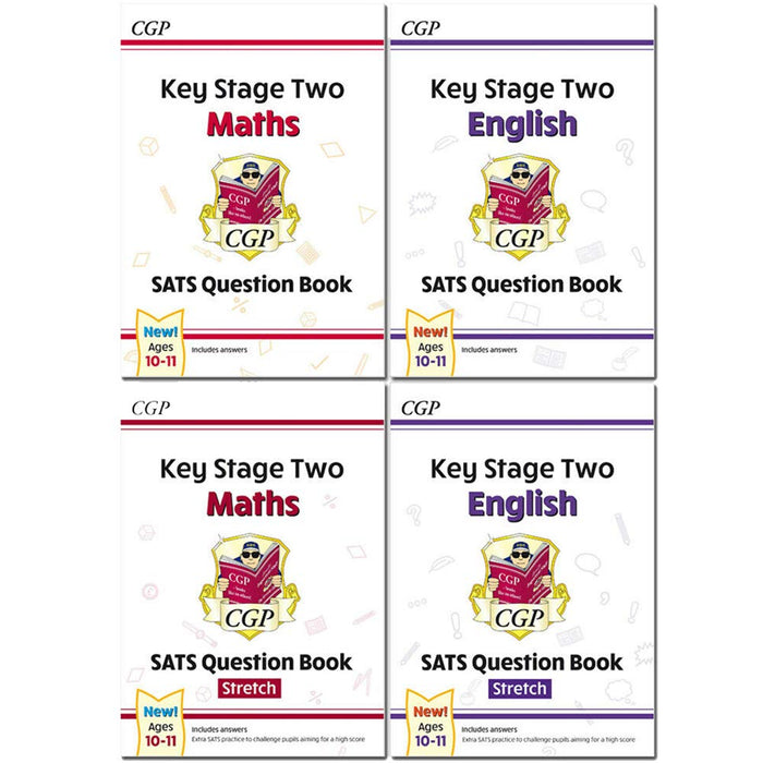 CGP KS2 Maths Targeted SATS Question Book Standard Level, Advanced Level, Stretch Ages 10-11 Collection 4 Books Set - The Book Bundle