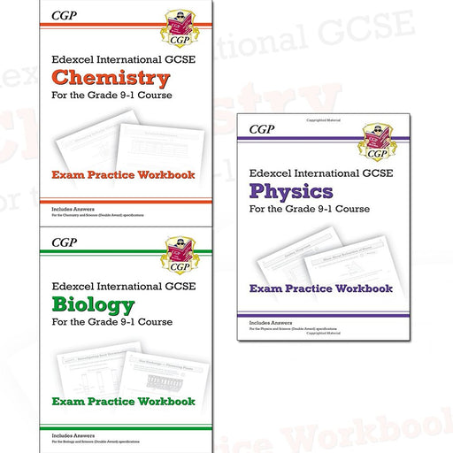 CGP Exam Practice Workbook Edexcel International GCSE 9-1 Collection 3 Books Set (Chemistry, Biology, Physics (includes Answers)) - The Book Bundle