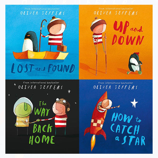 Oliver jeffers collection how to catch a star,way back home,lost and found,up and down 4 books set - The Book Bundle