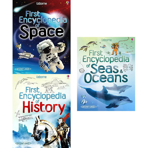 Usborne first encyclopedias series 2 : 3 books collection set (space, history, seas and oceans) - The Book Bundle