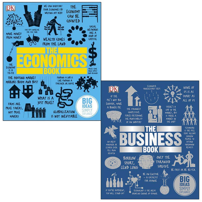 The Economics Book, The Business Book Big Ideas Simply Explained 2 Books Collection Set - The Book Bundle