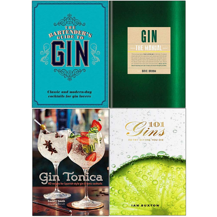 Bartenders guide to gin, gin the manual, gin tonica, 101 gins to try before you die 4 books collection set - The Book Bundle
