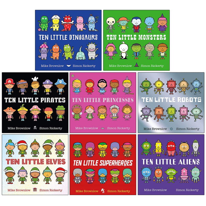 Ten Little Series Collection 8 Books Set By Mike Brownlow (Dinosaurs, Monsters, Pirates, Princesses, Robots, Elves, Superheroes, Aliens)-Paperback - The Book Bundle