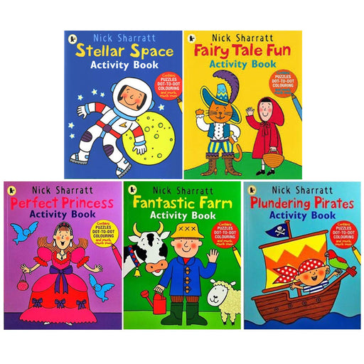 Nick Sharratt Activity 5 Books Collection Set Contains Puzzles Dot-To-Dot Colouring (Stellar Space, Fairy Tale Fun, Fantastic Farm) - The Book Bundle