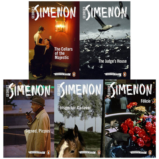 inspector maigret series 5 :21 to 25 books collection set by georges simenon (the cellars of the majestic, the judge's house, signed, picpus, inspector cadaver, félicie) - The Book Bundle