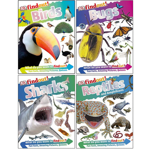 DK Findout! Series with Fun Facts and Amazing Pictures 4 Books Collection Set (Birds, Bugs, Sharks, Reptiles and Amphibians) - The Book Bundle