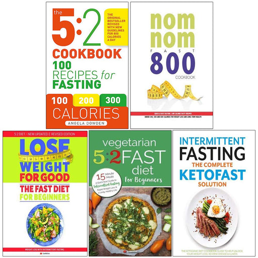 5 2 cookbook, nom nom fast 800 cookbook, fast diet for beginners, vegetarian 5 2 fast diet for beginners, complete ketofast 5 books collection set - The Book Bundle