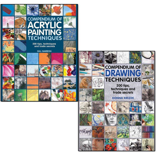 Compendium of drawing techniques and acrylic painting techniques 2 books collection set - The Book Bundle