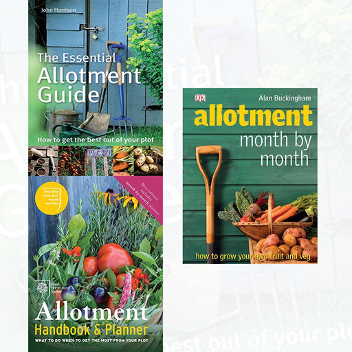Essential Allotment Guide, RHS Allotment Handbook & Planner and Allotment Month by Month [Hardcover] 3 Books Collection Set - The Book Bundle