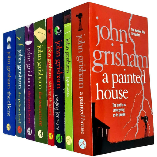 John Grisham Collection 8 Books Set(A Painted House,Bleachers,Playing for Pizza,Skipping Christmas,The Testament,The Street Lawyer,The Pelican Brief) - The Book Bundle
