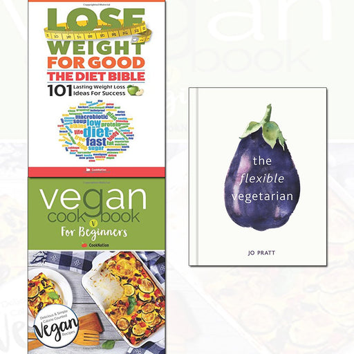 flexible vegetarian,vegan cookbook and lose weight 3 books collection set - The Book Bundle