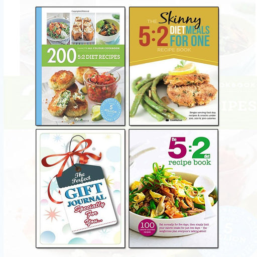 5:2 Diet Recipes Collection With Journal 3 Books Bundle (The Skinny 5:2 Diet Meals For One, 200 5:2 Diet Recipes, The 5:2 Diet Recipe Book) - The Book Bundle