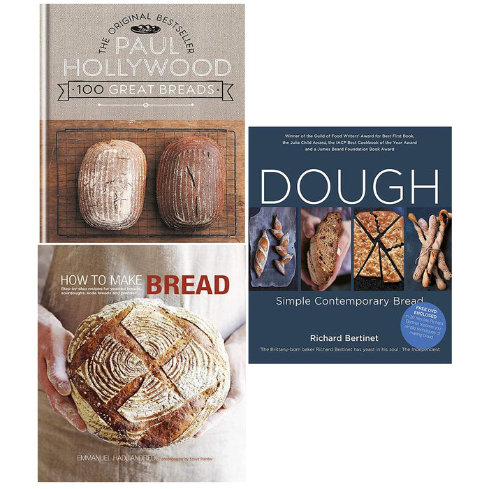 100 Great Breads (Hardcover), How to Make Bread (Hardcover), Dough Collection 3 Books Set - The Book Bundle