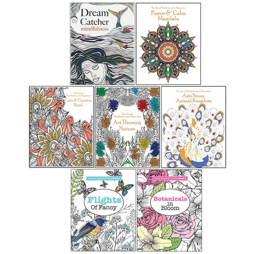 Dream Catcher Mindfulness, Calm & Creative Floral, Art Theraphy Nature, Peace & Calm Mandala 7 Books Collection Set - The Book Bundle