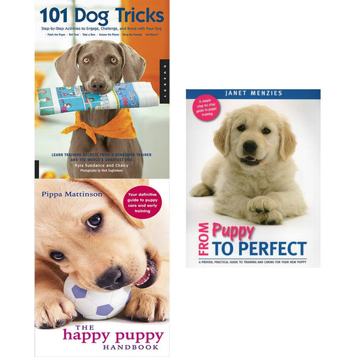 101 dog tricks, happy puppy handbook and from puppy to perfect 3 books collection set - The Book Bundle