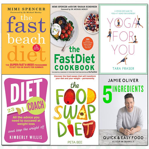5 ingredients [hardcover], fast beach diet, fastdiet cookbook, yoga for you, diet coach, food swap diet 6 books collection set - The Book Bundle
