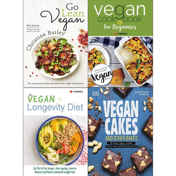 Go lean vegan, vegan cookbook for beginners, longevity diet, vegan cakes and other bakes [hardcover] 4 books collection set - The Book Bundle