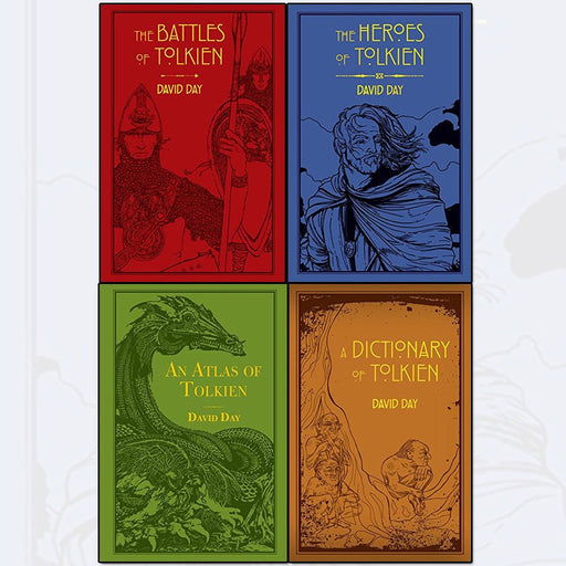tolkien david day collection 4 books set (the battles of tolkien, an atlas of tolkien, a dictionary of tolkien, the heroes of tolkien [flexibound]) - The Book Bundle