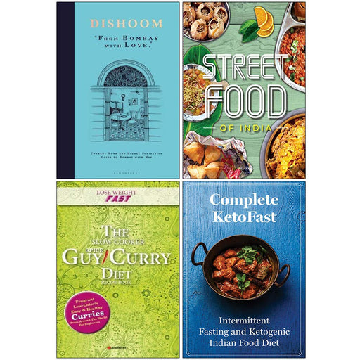 Dishoom From Bombay with Love [Hardcover], Fresh & Easy Indian Street Food, Slow Cooker Spice Guy Curry Diet, Complete KetoFast 4 Books Collection Set - The Book Bundle