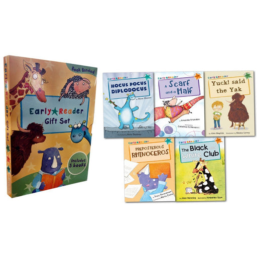 Early Readers Story Collection 5 Books Box Set Childrens Gift Pack Read at Home(Yuck Said the Yak, A Scarf and a Half, Preposterous Rhinoceros, The Black and White Club, Hocus Pocus Diplodocu