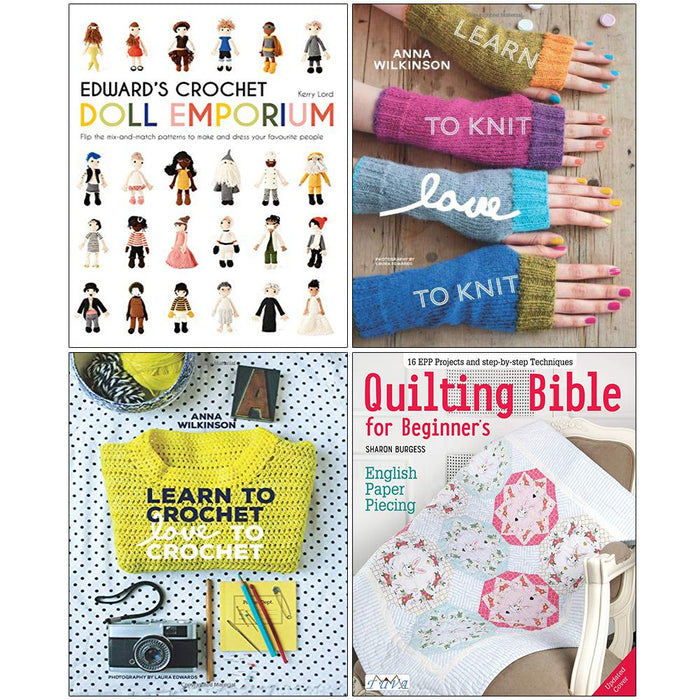Edwards Crochet Doll  , Learn to Knit Love, Learn to Crochet Love , Quilting Bible 4 Books Collection Set - The Book Bundle