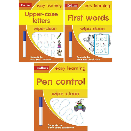Collins Easy Learning Age 3-5 Wipe Clean Activity 3 Books Collection Set(Introduce pre-schoolers to first words with fun activities to do over and over-Pen Control,First Words ,Upper Case Let
