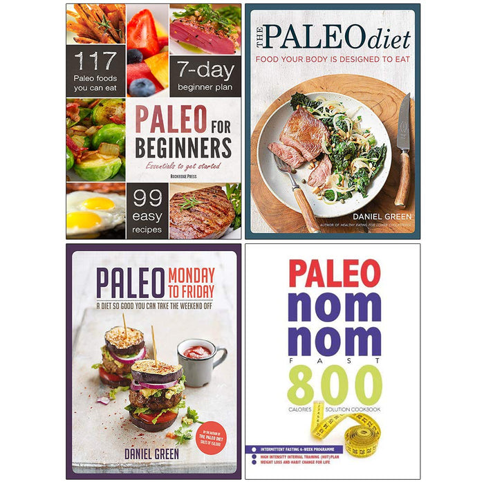 Paleo for Beginners, Paleo Monday to Friday, The Paleo Diet, Paleo Nom Nom Fast 800 Cookbook 4 Books Collection Set - The Book Bundle