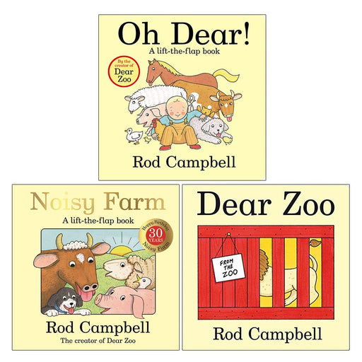 Rod Campbell Lift the Flap Collection 3 Books Set (Oh Dear, Noisy Farm, Dear Zoo) - The Book Bundle