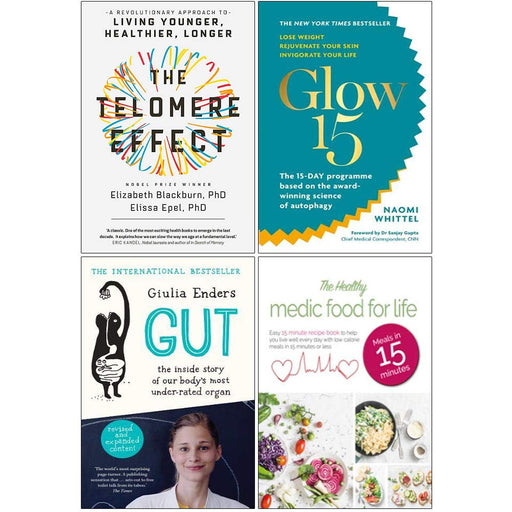 The Telomere Effect, Glow15, Gut & The Healthy Medic Food for Life 4 Books Collection Set - The Book Bundle
