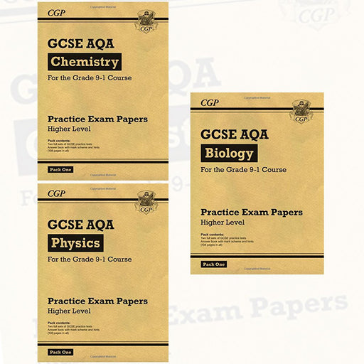 CGP Practice Papers Grade 9-1 GCSE AQA Higher Pack 1 3 Books Collection Set (Chemistry, Physics, Biology) - The Book Bundle