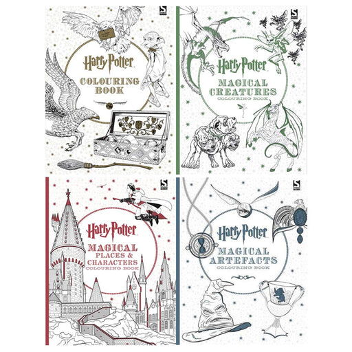 Harry Potter Colouring Book 1-4 Books Collection Set (Magical Creatures, Magical Places and Characters, Magical Artefacts) - The Book Bundle