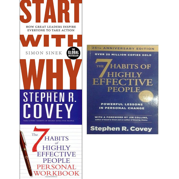 Start with why and 7 habits of highly effective people personal workbook 3 books collection set - The Book Bundle