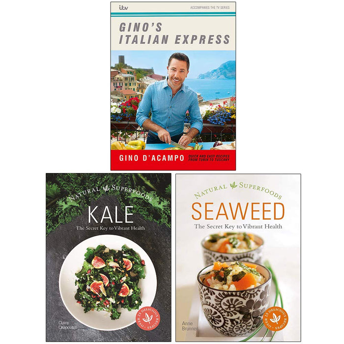 Gino's Italian Express, Kale The Secret Key to Vibrant Health, Seaweed Natural Superfoods 3 Books Collection Set - The Book Bundle