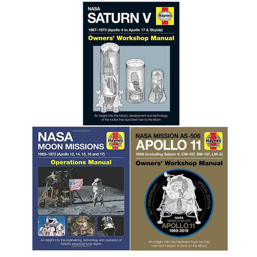 Apollo 11 50th Anniversary Edition, NASA Moon Missions Operations Manual And Saturn V Manual 3 Books Collection Set (Haynes Manuals) - The Book Bundle