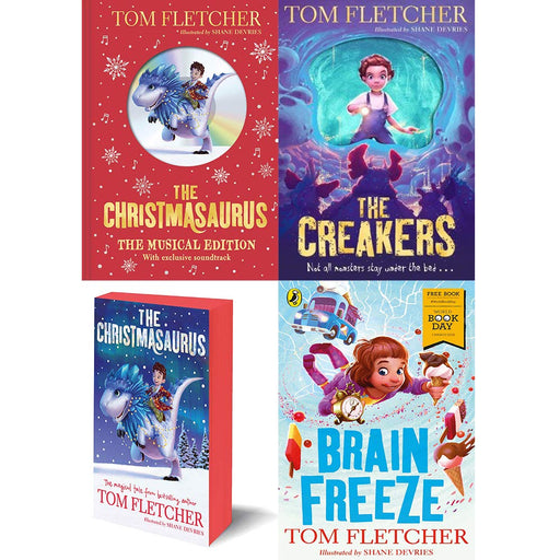 Tom fletcher collection 4 books set (christmasaurus musical edition [hardcover], creakers, christmasaurus, brain freeze) - The Book Bundle