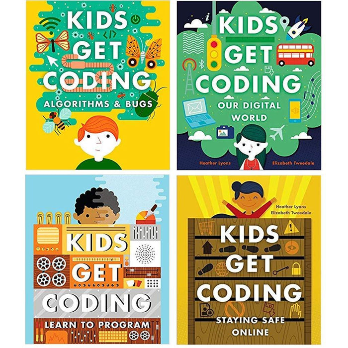 Kids get coding collection 4 books set (staying safe online, learn to program, our digital world, algorithms and bugs) - The Book Bundle