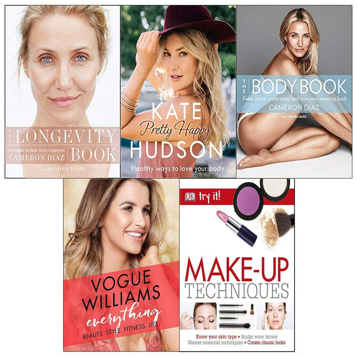 5 books Collection set (The Body Book ,The longevity book,Everything Beauty Style, Make Up Techniques and Pretty happy Books) - The Book Bundle