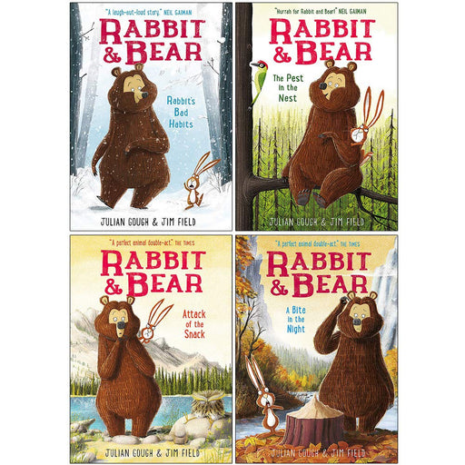 Rabbit and Bear Series 4 Books Collection Set By Julian Gough (Rabbit's Bad Habits, The Pest in the Nest, Attack of the Snack, A Bite in the Night) - The Book Bundle