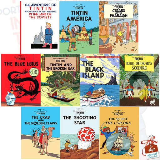 Adventures Of Tintin 10 Books Collection Set Series 1-2 Tintin In America,Unicor - The Book Bundle