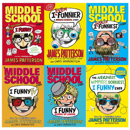 I funny james patterson collection 6 books set (i funny, even funnier, school of laughs, the nerdiest wimpiest dorkiest ever [hardcover]) - The Book Bundle