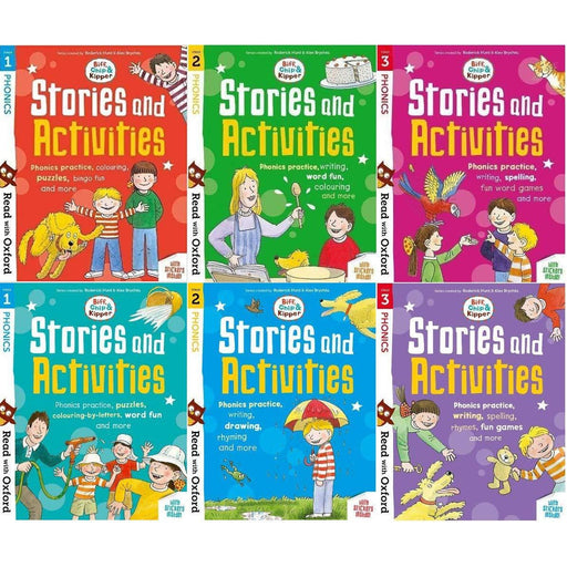 Read with Oxford Phonics Practice: Stage 1 - 3: Biff, Chip and Kipper: 6 Activity Books Collection Set - The Book Bundle