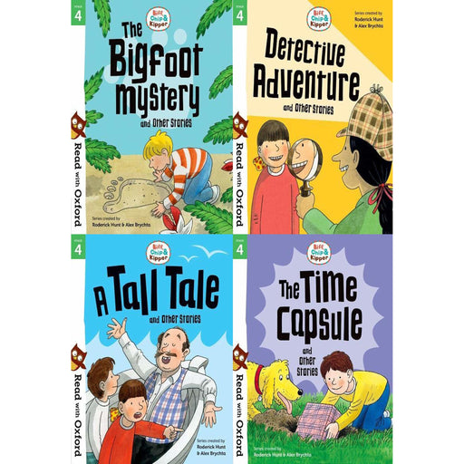 Read With Oxford Phonics (Stage 4) Biff, Chip & Kipper 4 Books Collection Set (Time Capsule, Bigfoot Mystery, Detective Adventure, Tall Tale) - The Book Bundle