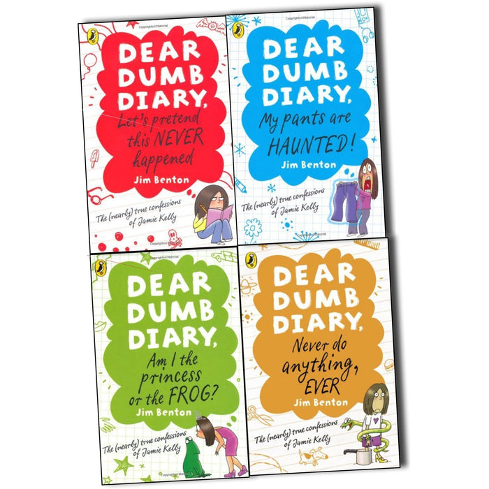 Dear Dumb Diary Jim Benton 4 Books Collection Pack Set(Dear Dumb Diary- Am I the Princess or the Frog?, Dear Dumb Diary-Let's Pretend This Never Happened, Dear Dumb Diary- My Pants are Haunte